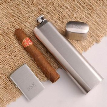 Cigar Case Flask with Brushed Zippo Lighter