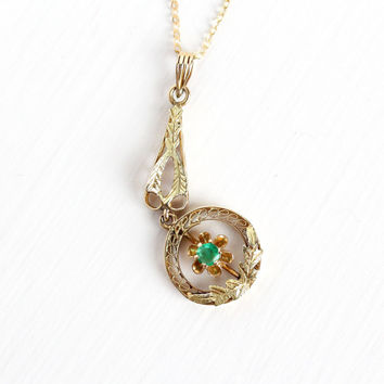 Antique 14k Rosy Yellow Gold Emerald Edwardian Necklace - Vintage Lavaliere Art Nouveau Fine Pendant 1900s Leaf Filigree Jewelry