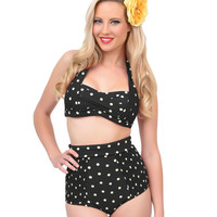 Unique Vintage Black & Cream Polka Dot Charlotte High Waist Bottoms
