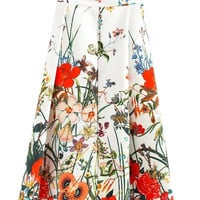 White Floral Print High Waist Pleated Skirt