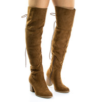 Aspen Chestnut By Soda, Corset Lace Up Military Inspired Over Knee Boots w High Block Stack Heel