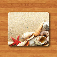 Beach Seashelsl Mouse Pad Mat Vintage Summer Sea Shell Nature Pattern MousePad Desk Deco Vintage Gift Computer Pad Personal New Year Gift
