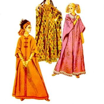 Vintage 60s Caftans Pattern Proportioned to Your Height Floor Length Cover Ups Simplicity 8354 Sewing Patterns Uncut One Size