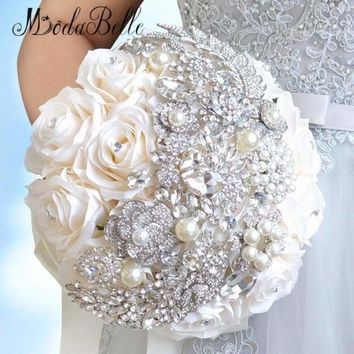Elegant Pearl and Crystal Wedding Bridal Artificial Rose Bouquet
