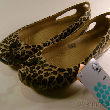 NEW Crocs Kadee Leopard Womens Flats Gold Black Heel Windows Lightweight Choice