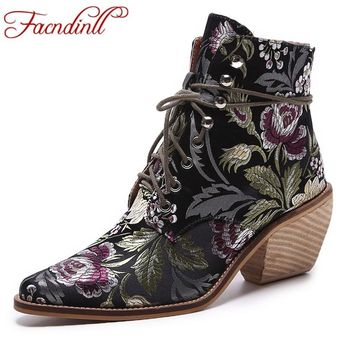 FACNDINLL brand designer shoes women leather ankle boots ladies dress shoes pointed toe lace-up fashion high heels autumn boots