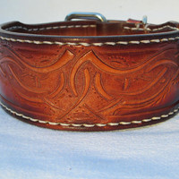 Luxury collars, handmade leather collar, tan collar, hand tooled, leather collars, designer collar,leather dog collars