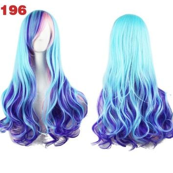 Different Color Ombre Long Curly Heat Resistant Wig