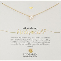 Dogeared Will You Be My Bridesmaid?, Small Button White Pearl Gold Necklace, 16.25""