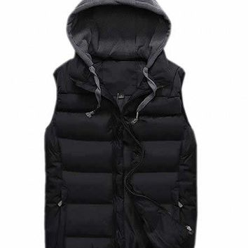 Papijam Mens Slim Fit Zipper Puffer Vest with Hood