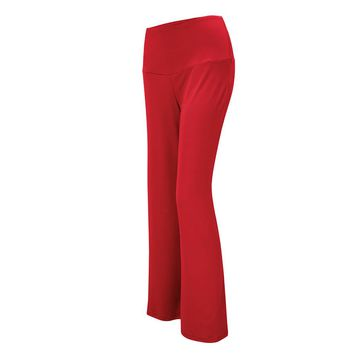 Fashion Casual Loose Full Women Rayon Spandex Solid Elastic Waist High Flare Pants