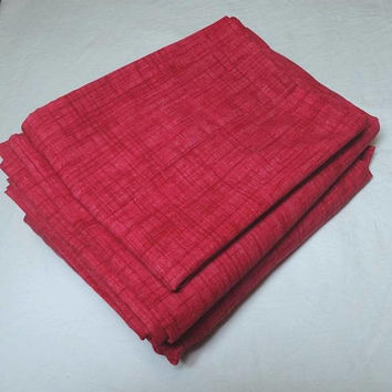 1990s, 3 Piece Twin Sheet Set in Red, Pink, All Cotton, Flat, Fitted Sheet, Pillowcase, Upcycle Sheets Pillows, Curtains, Vintage Bed Linens