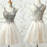 homecoming dress, beaded prom dress, Short cocktail dress, rhinestone prom dress online, 2015 prom dress