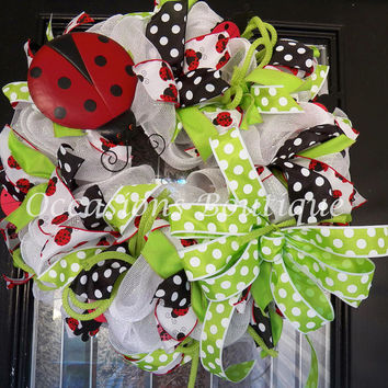 Spring Wreath, Summer Wreaths, Door Hanger, Front door wreaths, Wreath for door, Lady Bug, Deco Mesh wreaths, Ready to Ship