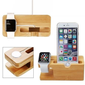 Bamboo Wood Charging Organizer Multi-device Charging Station with Apple Watch Stand Charging Dock Holder/Cradle for iWatch, iPho