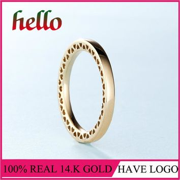 2017 Winter Collecion Classic Hearts 14k Solid Gold Ring Fine Jewelry For Girl Wedding Gift Classic Jewelry For Women