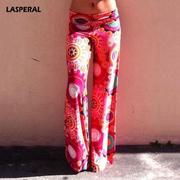 LASPERAL 2018 Summer Printed Wide Leg Pant Women Low Waist Long Trousers Plus Size Palazzo Yoga Pants Quick Dry Beach Pantalone