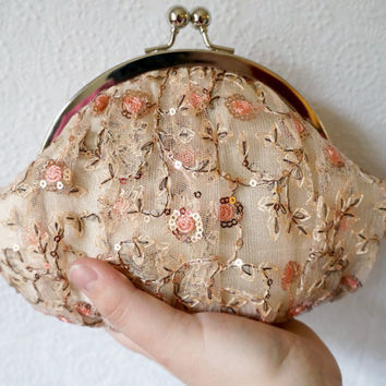 Small framed lace clutch purse wristlet, champagne lace with pink flowers, silk clutch, personalized initial