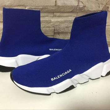 Blue Balenciaga Speed Stretch-knit Mid Sneakers