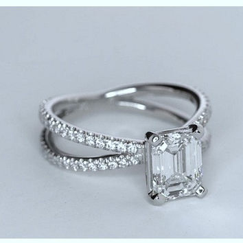 4.61ct Emerald cut diamond Engagement Ring GIA certified E-VS1 Platinum JEWELFORME BLUE 900,000 GIA CERTIFIED diamonds