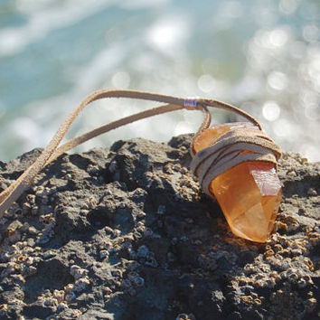 Echoz Leather Wrapped Tangerine Crystal Quartz Necklace