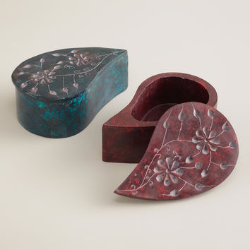 Paisley Soapstone Jewelry Boxes, Set of 2 - World Market