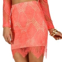 Sale-coral Lola Lace Skirt