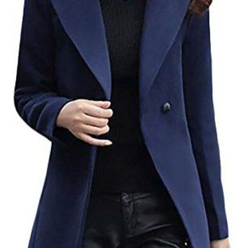 Macondoo Womens Thick Long Sleeve Slim Winter Casual Overcoat Pea Coat