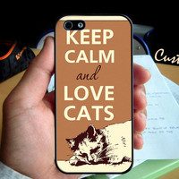 Keep Calm and Love Cats  - Photo Hard Case design for iPhone 4/4s Case, iPhone 5 Case, Black or White ( Choose Option )