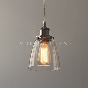 Lucy Pendant Light Clear Glass Chrome Fittings