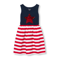 Girls Americana Sleeveless Flip Sequin Knit-To-Woven Striped Dress | The Children's Place