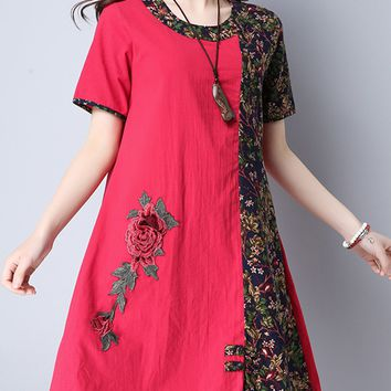 Casual Round Neck Color Block Floral Printed Cotton/Linen Shift Dress