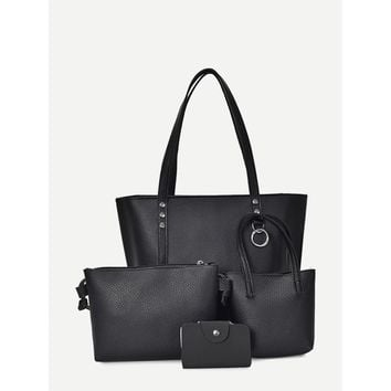 Faux Leather Combination Bag 4pcs