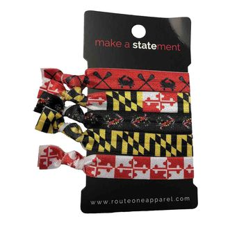 Lacrosse Crab Maryland Flag / 5-Piece Hair Tie Set
