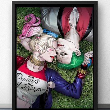 Harley Quinn Joker Suicide Squad Superheroes Movie Wall Art Wall Decor Silk Prints Art Poster Paintings For Living Room No Frame