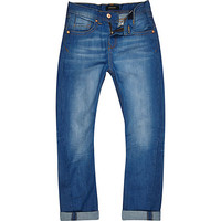 River Island Boys bright blue rolled up hem Chester jeans