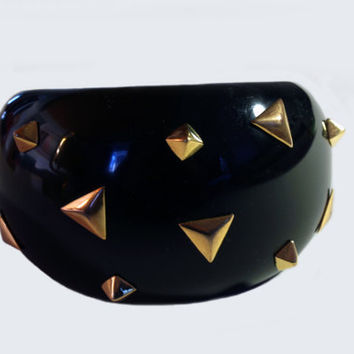 Designer Signed Alexis Bittar Black Dome Bracelet Bangle with Studs