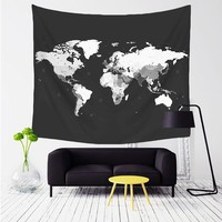 Comwarm World Map Pattern Tapestry Wall Hanging Gobelin Sandy Beach Picnic Yoga Mat for Comfortable Home Decor Artting T004