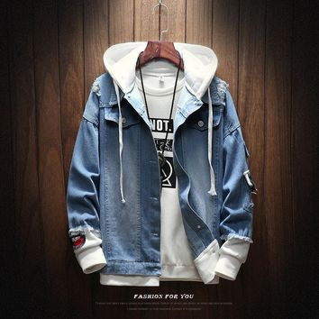 Men Jackets Autumn Winter Fake Two Pieces Patchwork Denim Hooded Jacket Causal Worn Hole Coat Outwear Male Plus Size