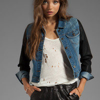 Tylie Leather Sleeve Jacket in Denim from REVOLVEclothing.com