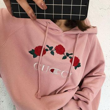 PEAPON ' GUCCI '' Hot Sale Embroidery Rose Flower Blouse loose type Hoodie Sweatershirt