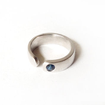 Mens Silver Band Ring with Gemstone Handmade to Order