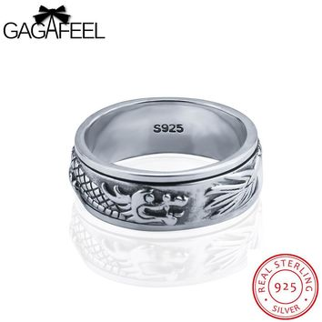 GAGAFEEL Rotatable Dragon Ring Men Jewelry 100% Genuine Sterling Silver Male Finger Bijoux Punk Rock Accessories Size 7-12.5
