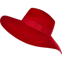 Bright red oversized fedora hat