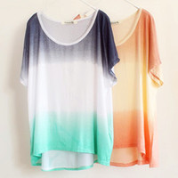 A 082610 u Gradient Color Bat Sleeve Loose Tie-Dyed T-Shirt