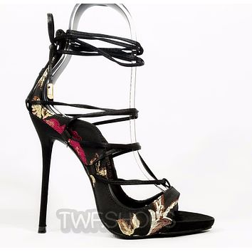 So Me Mista Satin Demon Strappy Lace Up High Stiletto Heel Shoe Black Floral