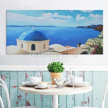 Seascape painting  Oil Painting hand painted  Santorini sight Painting Greek art Canvas Painting Wall art Wall pictures