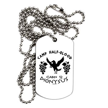 Camp Half Blood Cabin 12 Dionysus Adult Dog Tag Chain Necklace by TooLoud