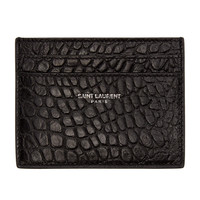 Black Croc Card Wallet by Saint Laurent