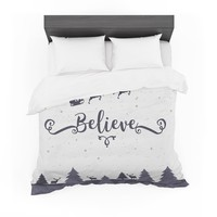 "Famenxt ""Christmas Believe"" Gray Lavender Illustration Featherweight Duvet Cover"